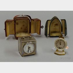 Two Miniature Travel Clocks