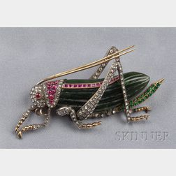 Nephrite Jade, Diamond and Gem-set Insect Brooch
