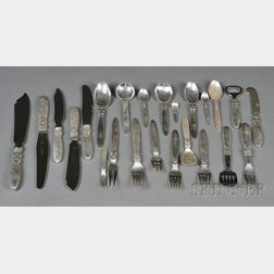"Extensive Georg Jensen ""Cactus"" Pattern Sterling Partial Flatware Service"