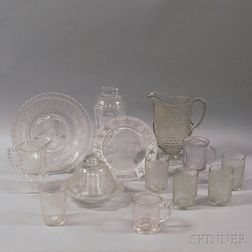 Thirteen Pieces of Commemorative Military and Patriotic Colorless Pattern Glass