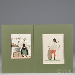 Two Watercolor and Fabric Tradesman Images