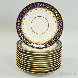 Set of Twelve Chamberlains Worcester Regent Porcelain Salad Plates