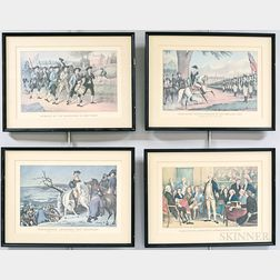 Twelve Framed Currier & Ives Restrike Lithographs of Revolutionary War Subjects