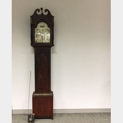 Silas Hoadley Gilt and Red-painted Pine Tall Clock