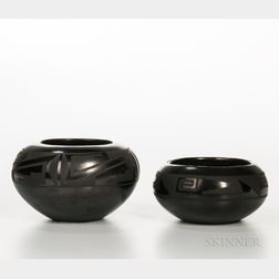 Two San Ildefonso Black-on-black Vessels