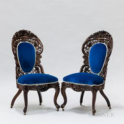 Pair of Rococo Revival Carved Rosewood Laminate Slipper Chairs