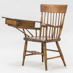 Turned Ash and Pine Writing-arm Windsor Chair