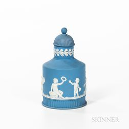 Wedgwood Solid Light Blue Jasper Tea Canister and Cover