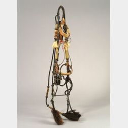 Western Prison-Made Leather and Horsehair Bridle and Quirt