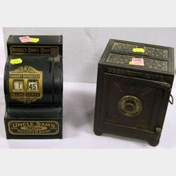 Black Painted Cast Iron Security Safe Deposit Bank and a Tin Uncle Sams 3-Coin Register Bank.