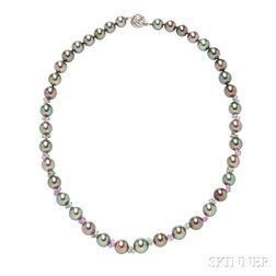 14kt White Gold, Tahitian Pearl, and Gem-set Necklace
