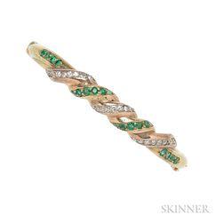 14kt Gold, Emerald, and Diamond Bracelet