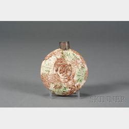 Staffordshire Lead Glazed Creamware Flask