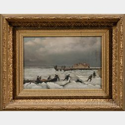 """American School, 19th Century      """"The Ferry."""" Boston Harbor from Governor's Island Near Fort Winthrop."""