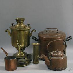 Three Copper Pots and a Brass Samovar