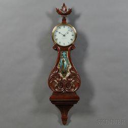 Elmer Stennes Carved Mahogany Lyre Clock