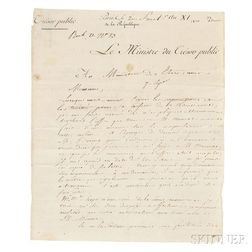 Barbé-Marbois, François (1745-1837) Letter Signed, 7 September 1803.