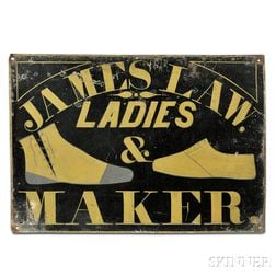"""Painted Tinned Sheet Iron """"JAMES LAW"""" Ladies' Boot and Shoemaker's Sign"""