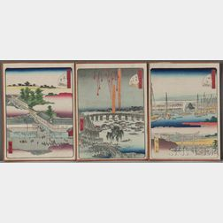 Utagawa Hiroshige II (1826-1869), Three Woodblock Prints