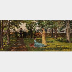 American School, 19th Century      Gentleman Calling at the Garden Gate