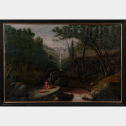 Large Naïve Oil on Canvas Landscape Depicting Indians