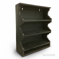 Green-painted Pine Shaped-end Wall Shelf