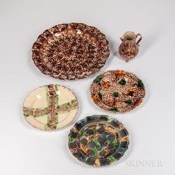 Five Staffordshire Tortoiseshell-glazed Earthenware Table Items