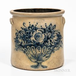Five-gallon Cobalt-decorated Stoneware Crock