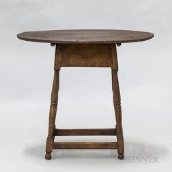 Turned Maple Oval-top Tea Table
