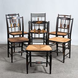 Assembled Set of Six Black-painted and Gilt Spindle-back Fancy Chairs