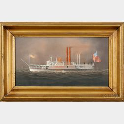 "Attributed to George Nemethy (American, 20th Century)      Portrait of the American Paddlewheeler ""HIGHLANDER""."