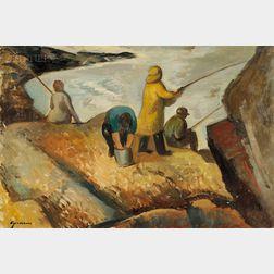 Lot of Two Coastal Views:      Dirk Van Dyke (American, fl. c. 1934), Abstract of Rocks