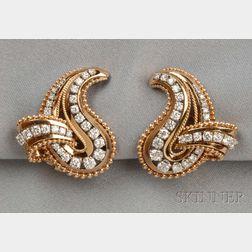 14kt Gold and Diamond Earclips, Raymond Yard