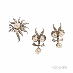 Cultured Pearl and Diamond Earrings and Brooch