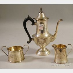 Assembled Three-piece Sterling Silver Demitasse Coffee Service