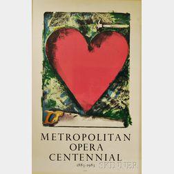 Jim Dine (American, b. 1935)      A Heart at the Opera  : Metropolitan Opera Centennial 1883-1983 Poster
