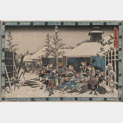 Utagawa Hiroshige (1797-1858), Night Attack Scene