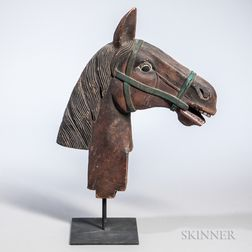 Carved and Painted Mahogany Carousel Horsehead