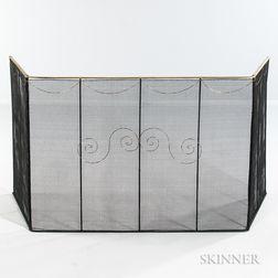Large Iron Wirework Folding Firescreen