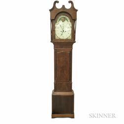 """J.G. Hanna"" Mahogany Veneer Tall Case Clock"