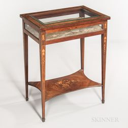 Mahogany, Kingwood-veneered, and Marquetry Vitrine Table