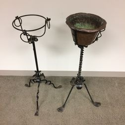 Samuel Yellin-style Wrought Iron and Copper Standing Jardiniere and Stand
