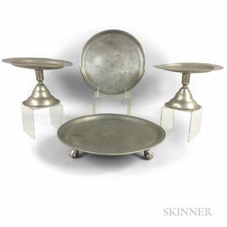 Three Continental Pewter Tazzas and a Salver