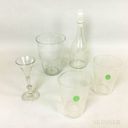 Five Mostly Etched Colorless Glass Items