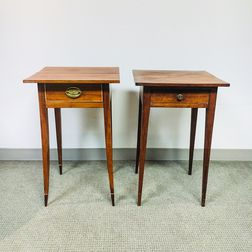 Two Federal Cherry One-drawer Stands