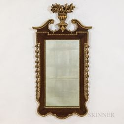 Chippendale-style Carved and Gilt Mahogany Veneer Mirror