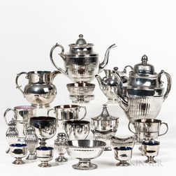 Fourteen Pieces of Staffordshire Silver Lustre Tableware