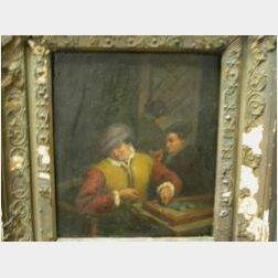 Northern School, 18th CenturyTavern View with Backgammon Player.