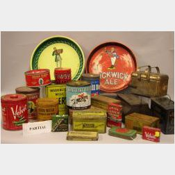 Approximately Thirty-six Lithographed Retail Cut Plug, Tobacco, Hardware, and Brewing Tins