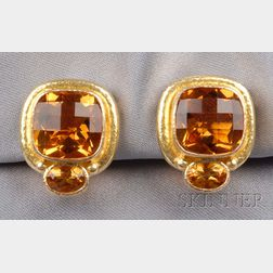 19kt Gold and Citrine Earclips, Elizabeth Locke